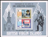 British Virgin Islands SGMS324 1974 Birth Centenary of Sir Winston Churchill Miniature Sheet unmounted mint